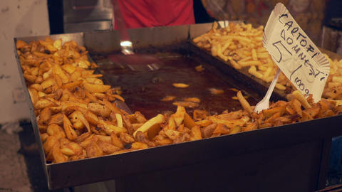 Cooking Fries on Large Tray Footage
