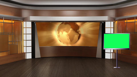 News TV Studio Set 83 Virtual Green Screen Background Loop stock footage