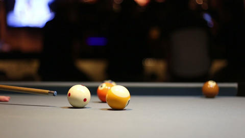 Playing Eight-ball pool billiards in a bar Footage