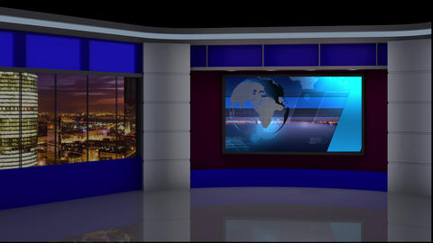 News TV Studio Set 87 - Virtual Background Loop Footage