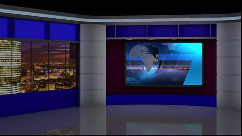 News TV Studio Set 87 Virtual Green Screen Background Loop stock footage