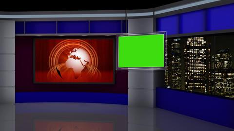 News TV Studio Set 88 Virtual Green Screen Background Loop stock footage