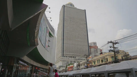 Pan Of State Tower From Ground stock footage