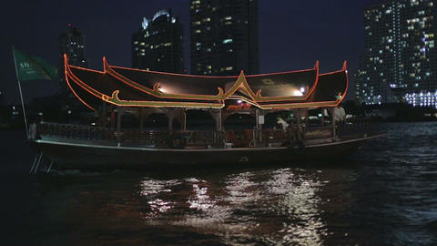 evening - exotic shuttle boat on bangkok river Stock Video Footage