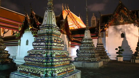 stunning - Wat pho temples at night Footage