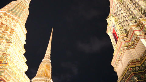 Wat Pho Temples At Night stock footage