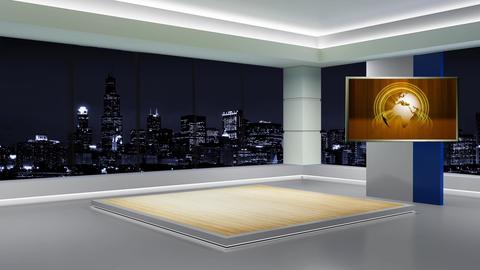 News TV Studio Set 89 Virtual Green Screen Background Loop stock footage