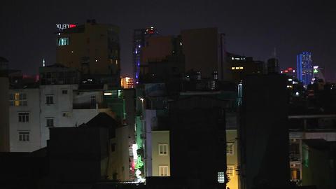 night - skyline of Saigon Ho chi minh financial center Footage