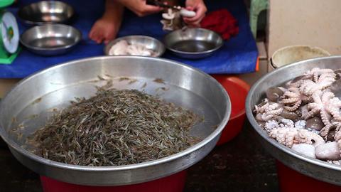 closeup of seafood at saigon morning market Footage