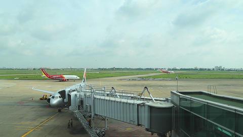 air plane boards at saigon airport Footage