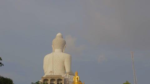 golden hour - Big Buddha statue from behind Footage