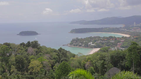 aerial of Phuket zoom out from Karon viewpoint Footage
