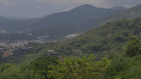 aerial of big buddha to beaches from Karon viewpoint Footage