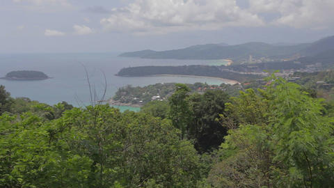 close angle aerial of Phuket beach from Karon viewpoint 2 Live Action
