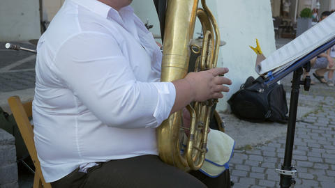 Euphonium Musician Plays Outdoor Footage