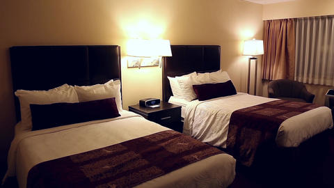Night Shot Of Hotel Room Without People stock footage