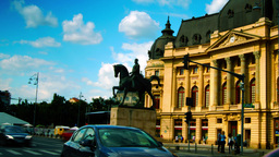 BUCHAREST, ROMANIA 2015 JUNE: Central University Library, Pan stock footage