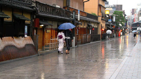 Walking Couple In Kyoto stock footage