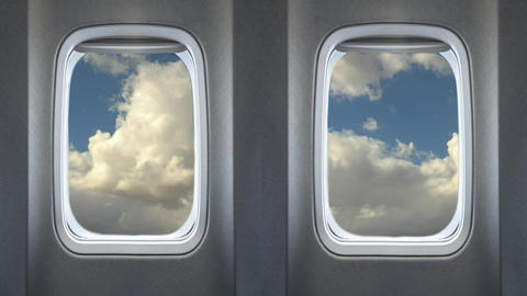 Beautiful Cloud View From Airplanes Passenger Windows With Sound Footage