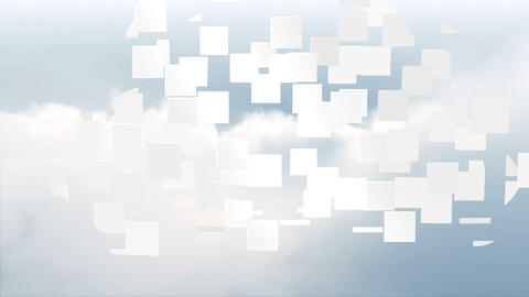 Cloud computing graphic on sky background Animation
