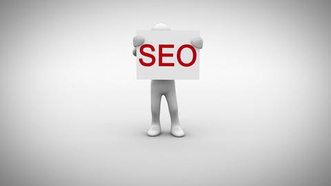 White character holding sign saying seo Animation