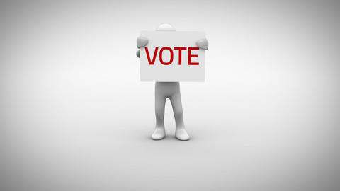 White character holding sign saying vote Animation