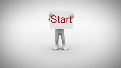 White character holding sign saying start Animation
