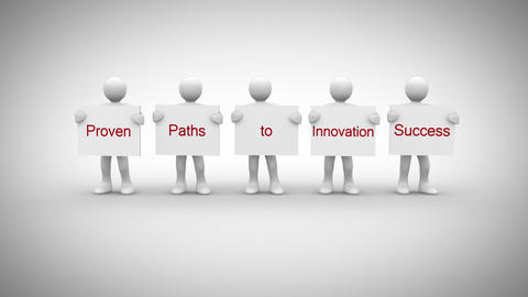 White characters showing signs saying proven paths to innovation success Animation