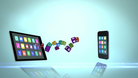 Media devices transferring apps Animation
