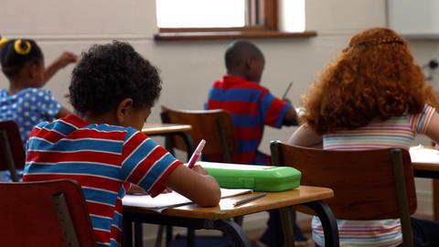 School children writing in classroom Footage