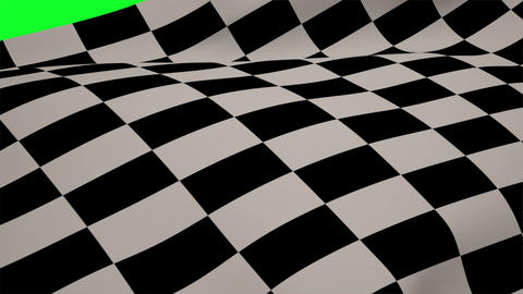Checkered flag blowing on green screen Animation