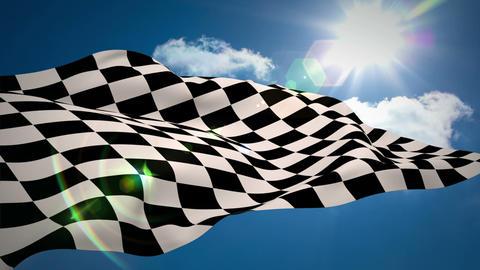 Checkered flag against blue sky Animation