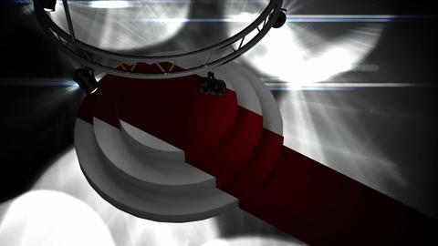 Spotlights on podium and red carpet Animation