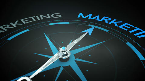 Compass pointing to marketing Animation