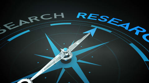 Compass pointing to research Animation