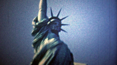 NEW YORK CITY - 1954: Statue of Liberty and the New York City skyline view Footage