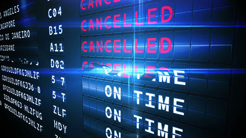 Departures board of cancelled flights Animation