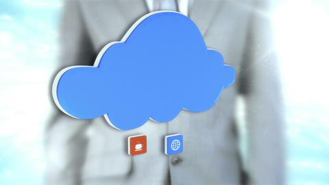 Businessman interacting with cloud interface Animation