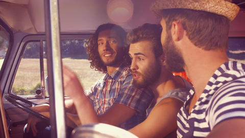 In high quality format hipster friends on road trip Footage