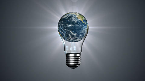 Light bulb with revolving earth Animation