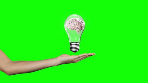 Hand presenting light bulb with brain Animation