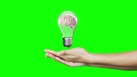 Hands presenting light bulb with brain Animation