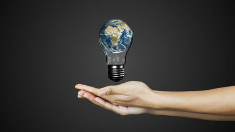 Hands presenting light bulb with earth Animation