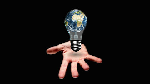Hand presenting light bulb with earth Animation