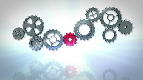 Cogs and wheels turning Animation