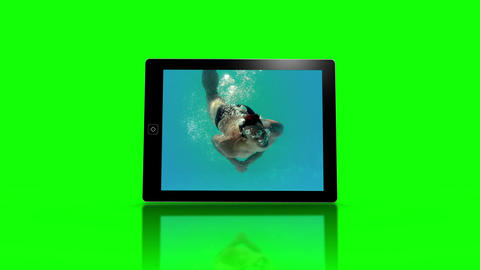 Media device screens showing girl swimming Animation