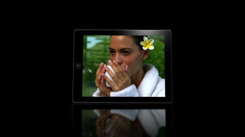 Media device screens showing spa scenes Animation