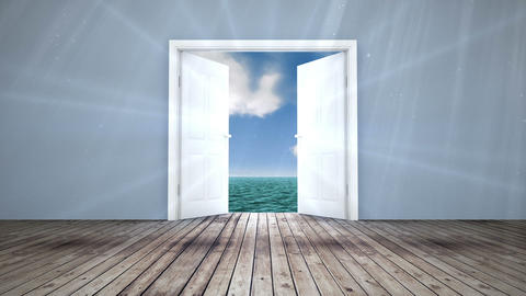 Door opening to sky and ocean Animation