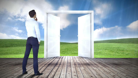 Door opening to green meadow watched by businessman Animation