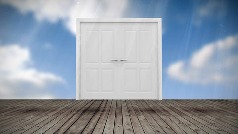 Door opening to blue sky Stock Video Footage